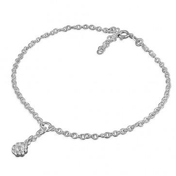 Sterling Silver Flower Charm Anklet