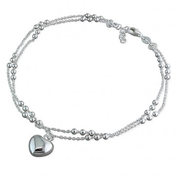 Sterling Silver Double Beaded Chain With Heart Anklet