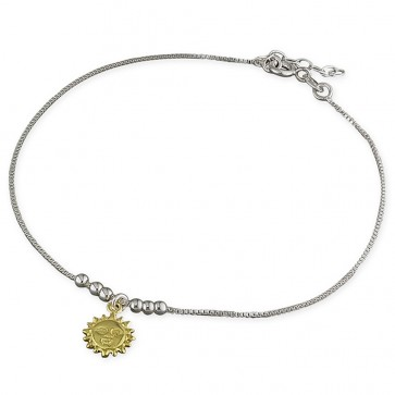 Sterling Silver With Yellow Gold-Plated Sun Anklet