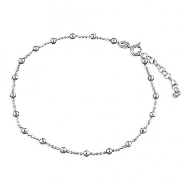 Sterling Silver Plain Bead Anklet