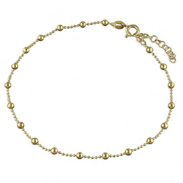 Yellow Gold-Plated Plain Bead Anklet