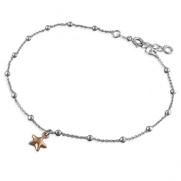 Sterling Silver With Rose Gold-Plated Star Anklet