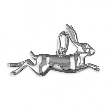 Men's Sterling Silver Leaping Hare Pendant On A Black Leather Cord Necklace