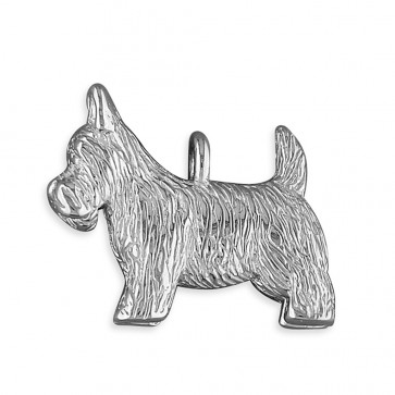 Solid Sterling Silver Scottie Dog Pendant On A Snake Necklace