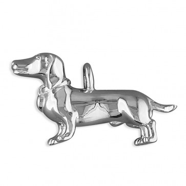 Sterling Silver Dachshund Dog With Diamond-Set Collar Pendant