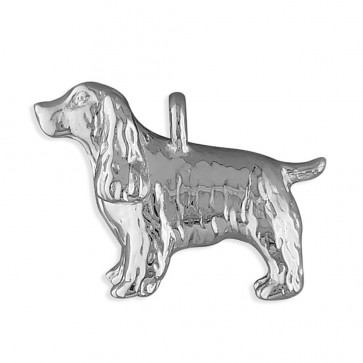 Sterling Silver Spaniel Dog Pendant On A Snake Necklace
