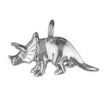 Sterling Silver Triceratops Dinosaur Pendant