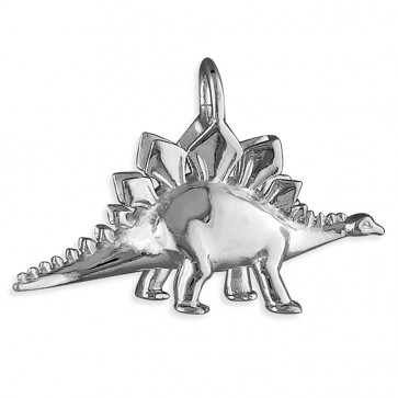 Children's Sterling Silver Stegosaurus Dinosaur Pendant On A Curb Necklace