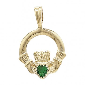 Men's 9ct Gold Green Agate Set Claddagh Pendant On A Curb Necklace