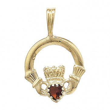 Men's 9ct Gold Garnet Set Claddagh Pendant On A Curb Necklace