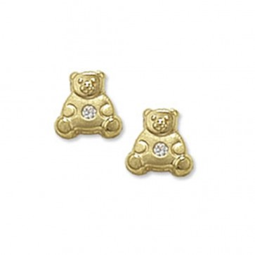 Childrens 9ct Gold Teddy Bear With Cubic Zirconia Stud Earrings