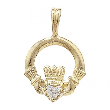 Men's 9ct Gold Cubic Zirconia Set Claddagh Pendant On A Curb Necklace