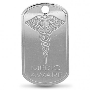 Children's Sterling Silver Engraved Medic Aware SOS Pendant On A Curb Necklace