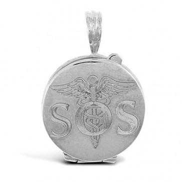 Sterling Silver Engraved Medical Emergency Awareness SOS Pendant