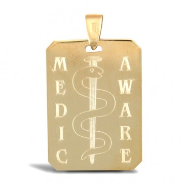 Men's 9ct Gold Engraved Medic Aware SOS Pendant On A Curb Necklace