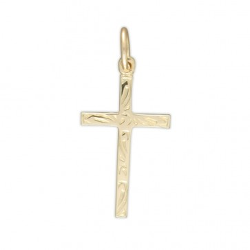 Men's 9ct Gold Engraved Cross Pendant On A Curb Necklace