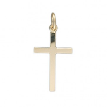 Men's 9ct Gold Plain Cross Pendant On A Curb Necklace