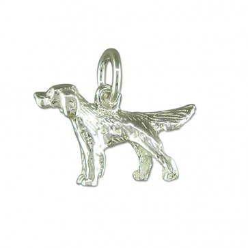 Children's Sterling Silver Retriever Pendant On A Curb Necklace