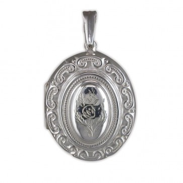 Men's Sterling Silver Large Ornate Victorian Oval Locket On A Black Leather Cord Necklace