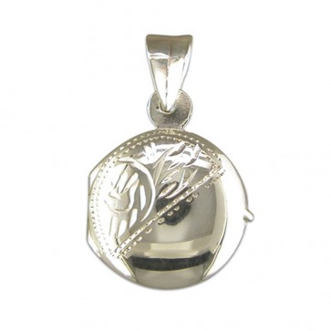 Men's Sterling Silver Small Engraved Round  Locket On A Black Leather Cord Necklace