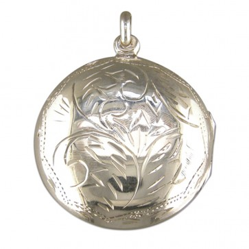 Children's Sterling Silver Medium Round Engraved Locket On A Curb Necklace