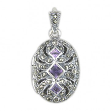 Sterling Silver Amethyst & Marcasite Fancy Oval Locket
