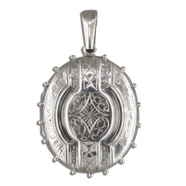 Men's Sterling Silver Large Fancy Victorian Oval Locket On A Black Leather Cord Necklace