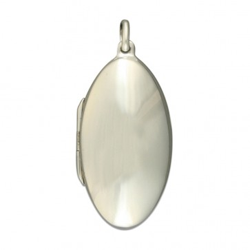 Sterling Silver Plain Pointed Oval Locket