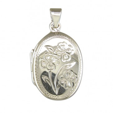 Sterling Silver Flower Pattern Oval Locket On A Snake Necklace