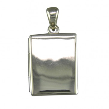 Men's Sterling Silver Plain Oblong Book Locket On A Black Leather Cord Necklace