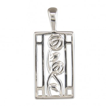 Men's Sterling Silver Rennie Mackintosh Style Oblong Pendant On A Black Leather Cord Necklace