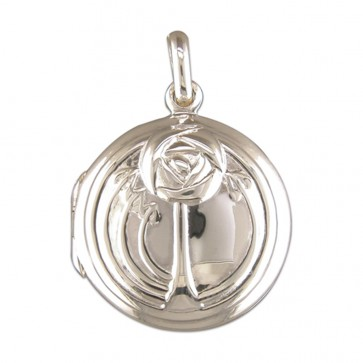 Children's Sterling Silver Rennie Mackintosh Style Round Locket On A Curb Necklace