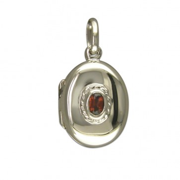 Men's Sterling Silver Small Plain Oval With Garnet Locket On A Black Leather Cord Necklace
