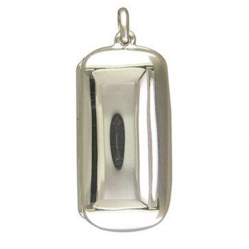 Men's Sterling Silver Plain Lozenge Locket On A Black Leather Cord Necklace