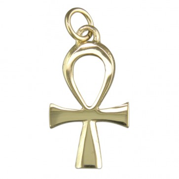 Men's 9ct Gold Large Plain Ankh Cross Pendant On A Curb Necklace