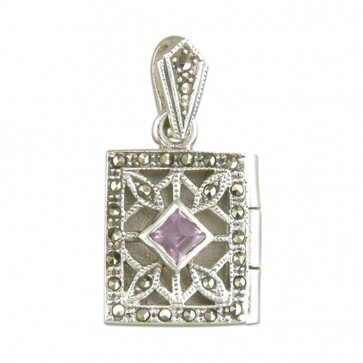Men's Sterling Silver Amethyst & Marcasite Oblong Book Locket On A Black Leather Cord Necklace