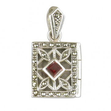 Men's Sterling Silver Garnet & Marcasite Oblong Book Locket On A Black Leather Cord Necklace