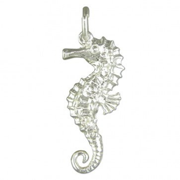 Children's Sterling Silver Seahorse Pendant On A Curb Necklace