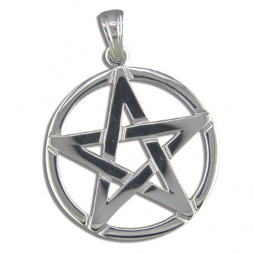 Men's Sterling Silver Pentagram Pendant On A Black Leather Cord Necklace