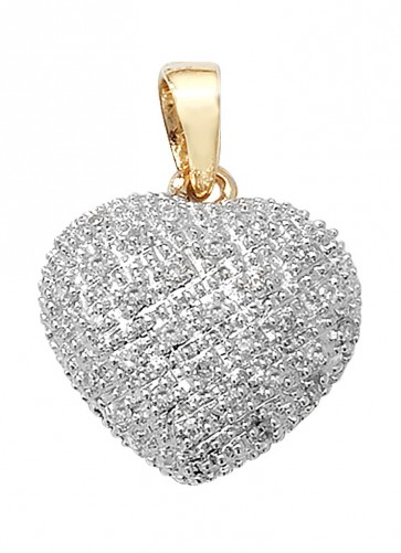 9ct Gold 0.11ct Diamond Heart Pendant On A Belcher Necklace