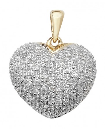 9ct Gold 0.25ct Diamond Heart Pendant On A Belcher Necklace