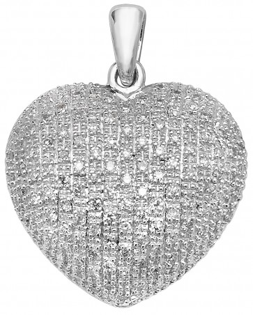 9ct White Gold 0.45ct Diamond Heart Pendant On A Belcher Necklace