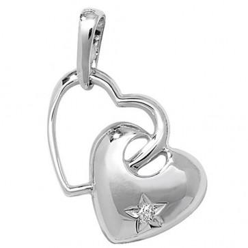 9ct White Gold 0.003ct Diamond Set Double Heart Necklace