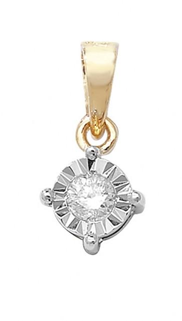 9ct Gold 0.1ct Illusion Set Diamond Pendant On A Belcher Necklace
