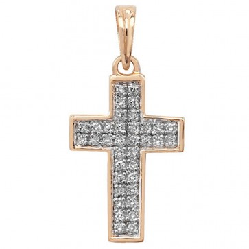 Children's 9ct Gold 0.1ct Pave Set Diamond Cross Pendant On A Prince of Wales Necklace