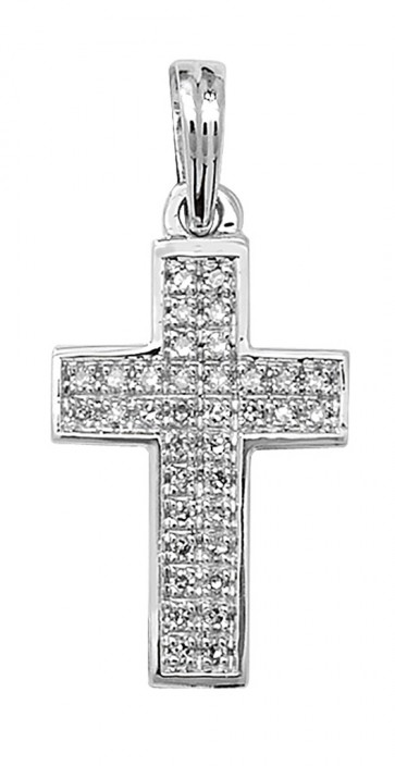9ct White Gold 0.1ct Pave Set Diamond Cross Pendant On A Belcher Necklace