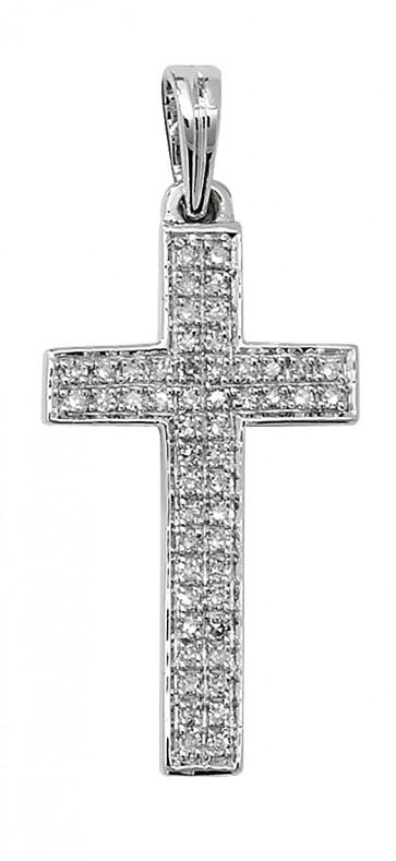Men's 9ct White Gold 0.16ct Pave Set Diamond Cross Pendant On A Curb Necklace