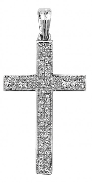 Children's 9ct White Gold 0.26ct Pave Set Diamond Cross Pendant On A Prince of Wales Necklace