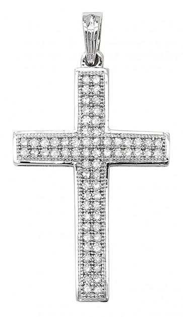 Men's 9ct White Gold 0.25ct Pave Set Diamond Cross Pendant On A Curb Necklace