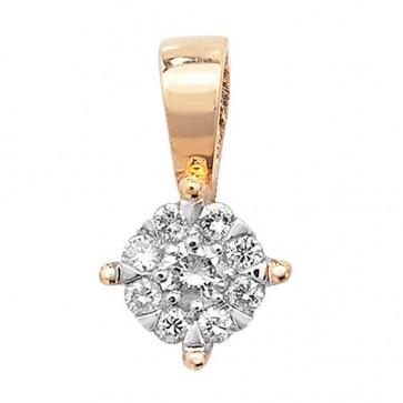 9ct Gold 0.08ct Diamond Pendant On A Belcher Necklace